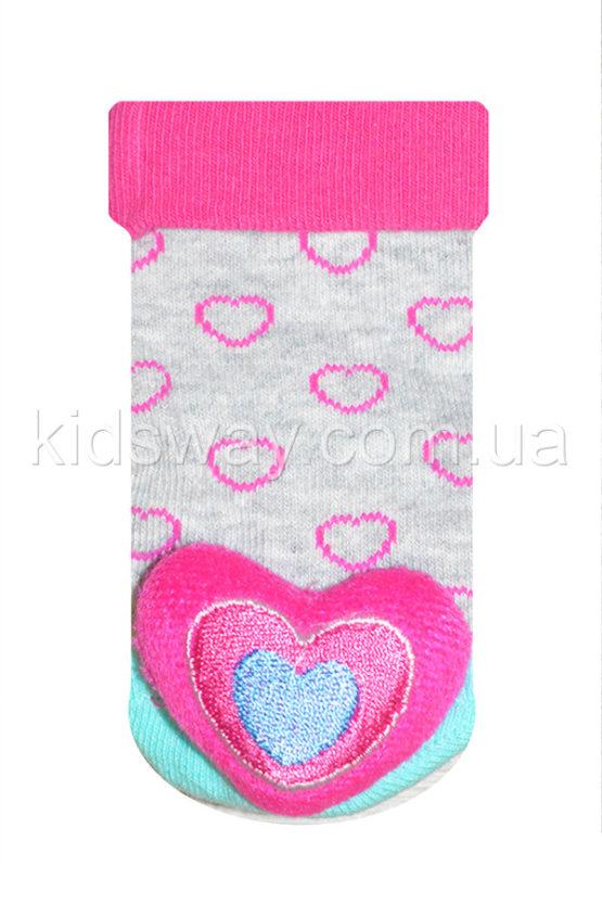 Носки с игрушкой погремушкой «Сердце-1» (9-10 см)