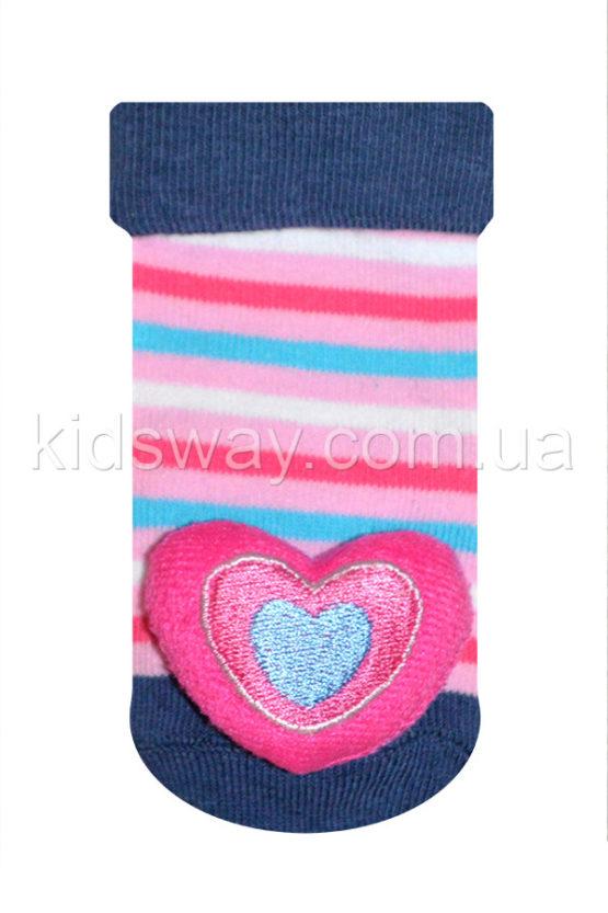 Носки с игрушкой погремушкой «Сердце-2» (9-10 см)