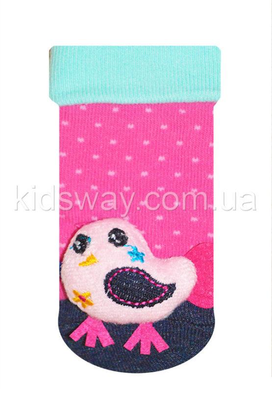 Носки с игрушкой погремушкой «Птичка-1» (9-10 см)