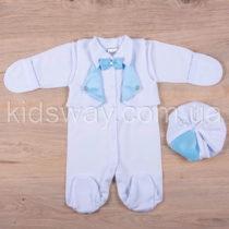 Нарядный человечек и берет для новорожденного мальчика, белый с голубым