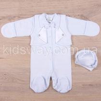 Нарядный человечек и берет для новорожденного мальчика, белый