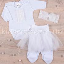 Комплект нарядный для девочки «Бусинка», белый