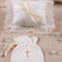 Мешочек и подушка крестильные «Хрестильна скринька», кремовый