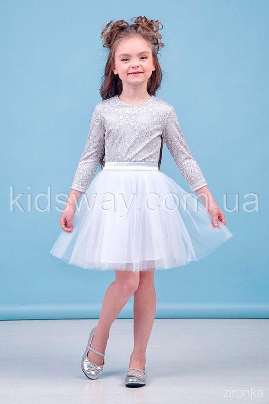 Нарядный комплект «Снежинка»: юбка из фатина и блузка