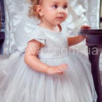 Платье нарядное «Жемчуг», серое