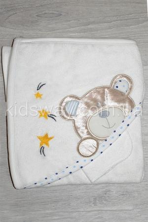 Полотенце — уголок для купания «Мишка» (89*82 см), голубой