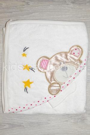 Полотенце — уголок для купания «Мишка» (89*82 см), розовый