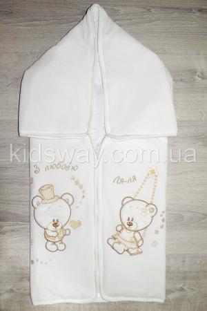 Конверт — плед для новорожденных «Ля-ля», молочный