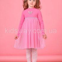 Платье с длинным рукавом для девочки, розовое
