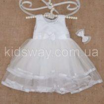 Платье «Оленка» с заколкой, белое