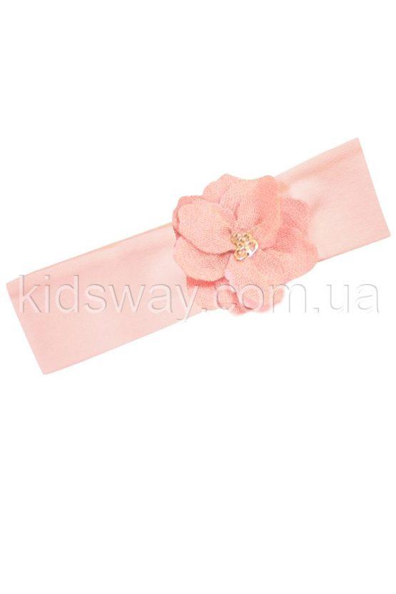 Повязка на голову с цветком, розовая