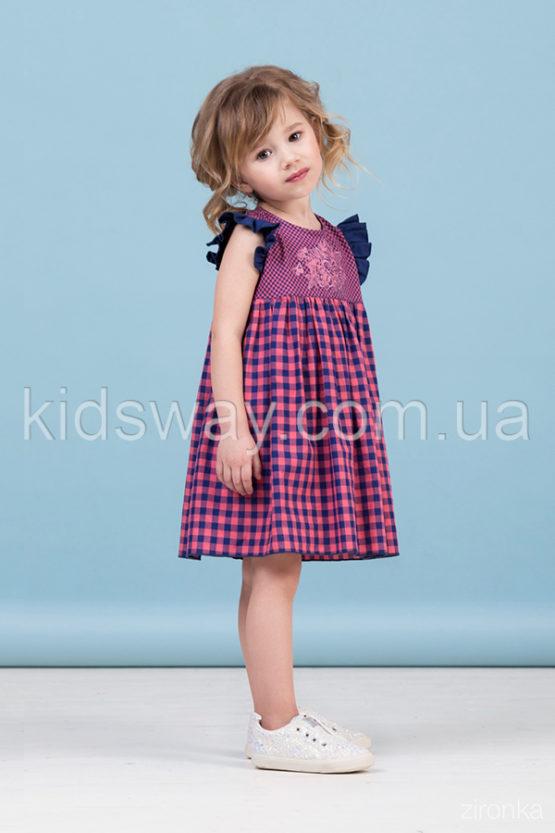 Платье с рукавами-крылышками, коралл