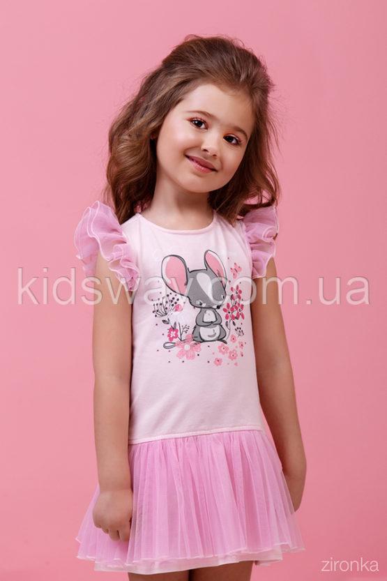 Платье для девочки с фатиновой юбкой, св.-розовое