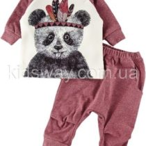 Комплект: штаны и кофта «Панда», бордовый