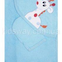 Полотенце уголок для купания «Жираф», голубое