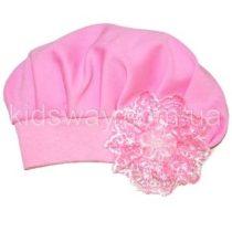 Шапочка-берет «Ажур», розовая