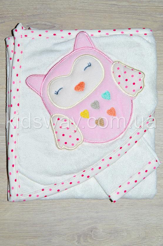 Полотенце — уголок для купания «Совушка» (89*82 см), розовый