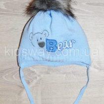 Зимняя вязанная шапка, для новорожденных «Мишка», голубая