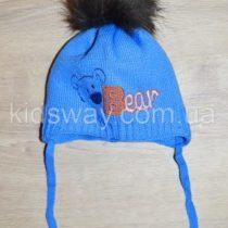 Зимняя вязанная шапка, для новорожденных «Мишка», синяя