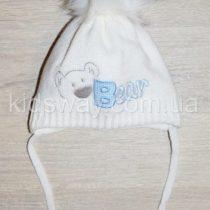 Зимняя вязанная шапка, для новорожденных «Мишка», белая