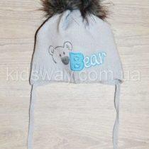 Зимняя вязанная шапка, для новорожденных «Мишка», серая