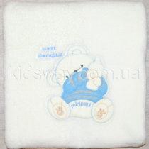 Плед-одеяло из велсофта, детское, молоко+голубой (86*73 см)