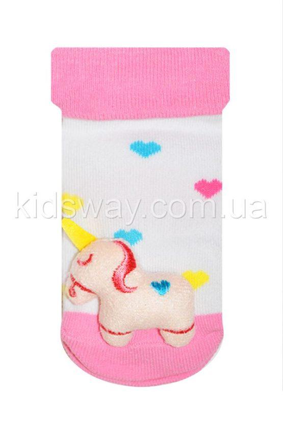 Носки с игрушкой погремушкой «Единорог», сердечки
