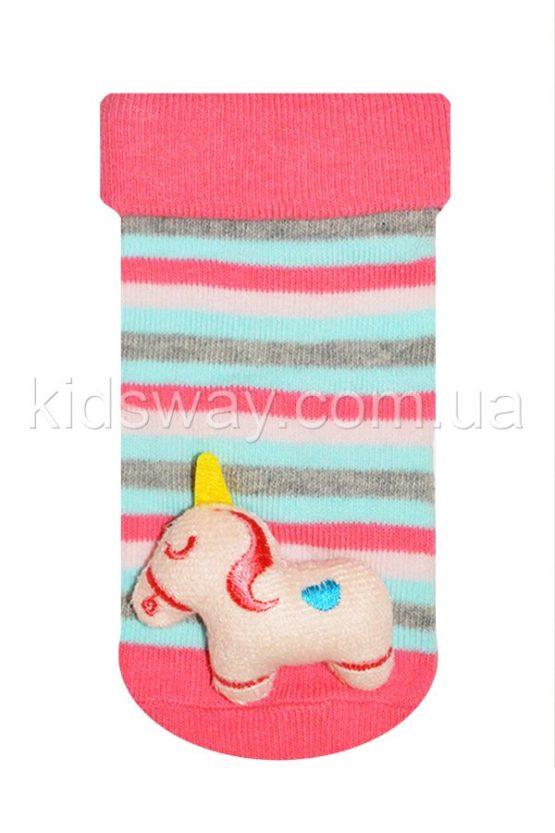Носки с игрушкой погремушкой «Единорог», полоска
