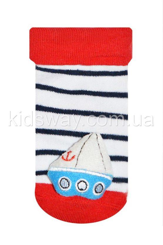 Носки с игрушкой погремушкой «Кораблик», белый