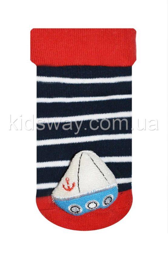 Носки с игрушкой погремушкой «Кораблик», синий