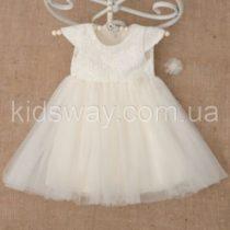 Платье «Діамант» с заколкой, молочное
