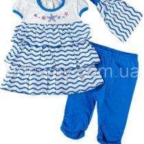 Комплект 3в1: платье, лосины, повязка «Море»