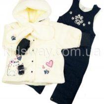 Комплект из махры и джинса для девочки: куртка, комбинезон и шарф (молочный)