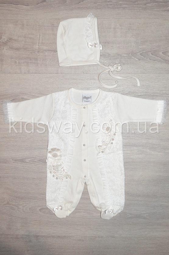 Нарядный человечек и чепчик для новорожденной девочки, молочный