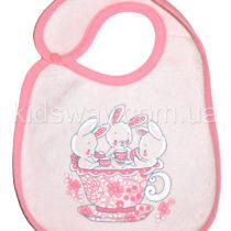 Слюнявчик махровый, непромокаемый «Ля-ля», розовый