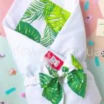 Конверт — одеяло на выписку «Тропические листья» (лето / демисезон)