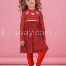 Платье с длинным рукавом для девочки, красное (92, 98, 104 р.)