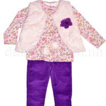 Комплект для девочки: вельветовые брюки, жилетка, джемпер