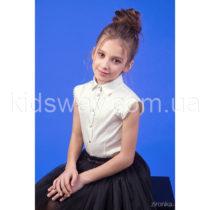Блузка-рубашка с коротким рукавом для девочки «Жемчуг», айвори