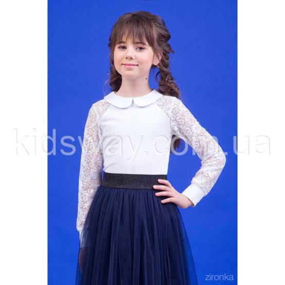 Блузка для девочки с кружевным рукавом «Мирта»