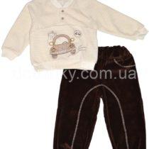 Комплект из велюра для мальчика: кофта и штаны (80, 86 р-ры), коричневый