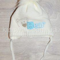 Зимняя вязанная шапка, для новорожденных «Мишка», молочная